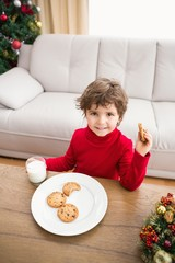 Festive little boy having milk and cookies
