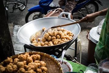 Fish Ball deep fried. Thai Fast food. Street food.