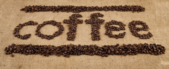 inscription from grains of coffee