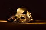 Two golden Venetian masks - 72759941
