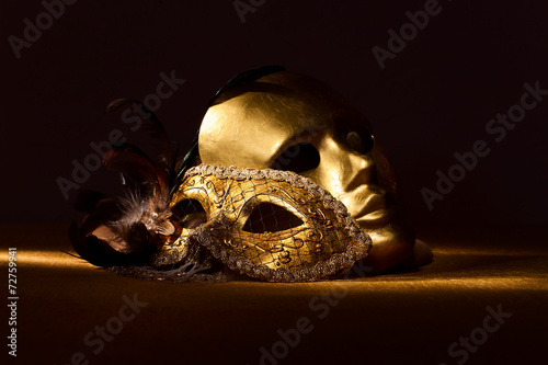 Two golden Venetian masks - 72759941