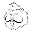 Black and white silhouette of a lion with a mustache. Vector ill