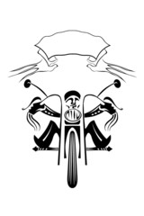 Black silhouette of a biker on a motorcycle on a white backgroun