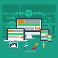web development concept flat style