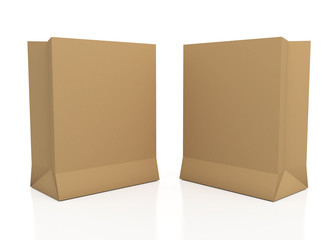 3d brown papers bags in isolated background