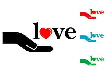 Pictograma mano con texto love con varios colores