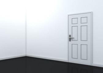 3d empty white room perspective and reflection floor