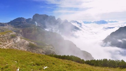 Cloud motion, morning mist in the Dolomites