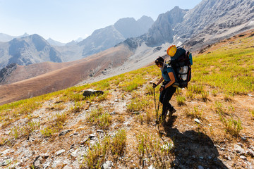 Hiker in high mountains.