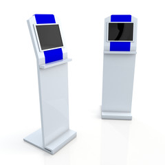 dark blue stand display with monitor touch screen