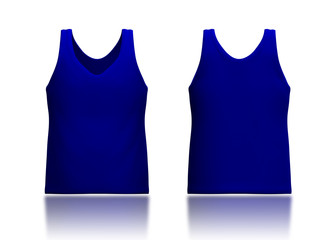 3d dark blue tank top front and back in isolated