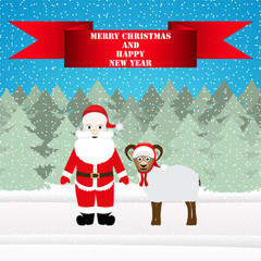 Santa and sheep in the Christmas forest