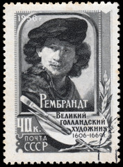 Stamp printed in the USSR shows Rembrandt
