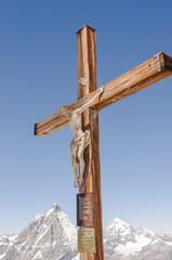 Zermatt, Dorf, Breithorn, Berggipfel, Kreuz, Alpen, Schweiz