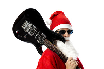 Close up of Santa Claus with his E-Guitar