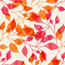 Akwarela szwu z różowych i pomarańczowych liści jesienią.