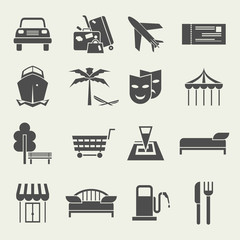 Icons vacation and travel in a flat style