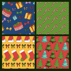 Merry Christmas and Happy New Year colorful seamless background