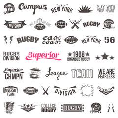 Set of badges college rugby team