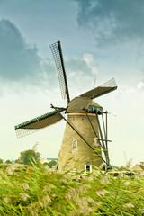 Ancient windmill in Kinderdijk, Holland