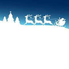 Christmas Sleigh Santa 3 Reindeers Blue Card