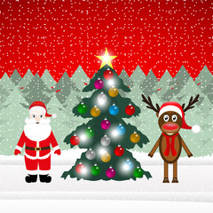 Reindeer and Santa Claus with Christmas tree in the forest