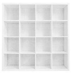 Empty bookshelf or store rack isolated on white
