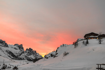 Winter sunrise at the Pala Group. Dolomites, Italy.