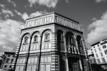 Florence baptistery, Italy - black and white image