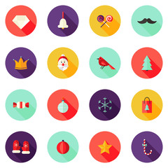 Christmas Circle Flat Icons Set 1