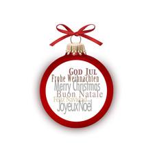 Rote Weihnachtskugel Frohe Weihnachten