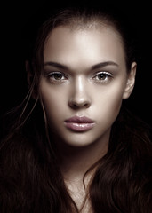 Beauty face woman dark background