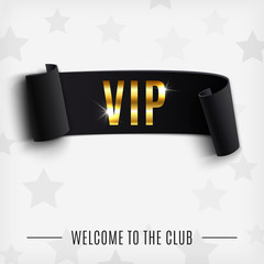 VIP background with realistic black curved ribbon