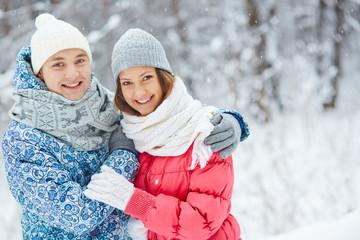 Couple in snowfall