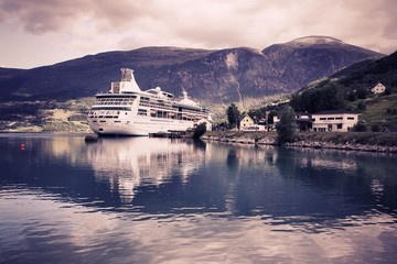 Cruise ship, Norway - cross processed color tone