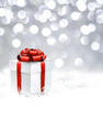 Silver christmas background with gift.