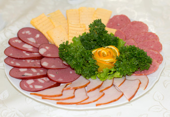 Delicious meat and cheese slices