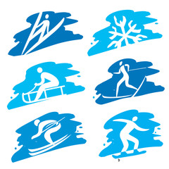 Winter Sport icons on the grunge background.