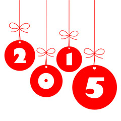 HAPPY NEW YEAR Card (baubles hanging 2015)