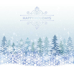雪 冬 景色 背景 Winter Holiday background with blue snow scenery