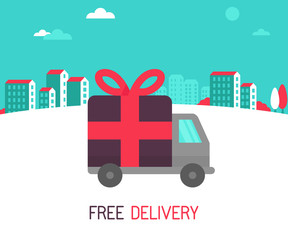 Vector free delivery concept in flat style
