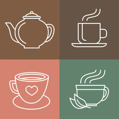 Vector tea and coffee logos