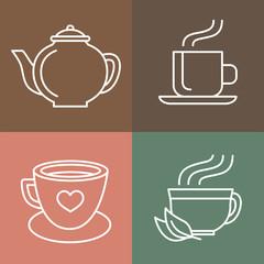 Vector tea and coffee logos