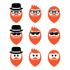 Man with ginger beard with moustache or mustache icons