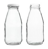 Glass Milk Bottles with/without Cap isolated on white background - 72773333