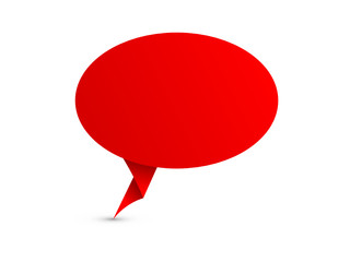 SPEECH BUBBLE Icon (red chat testimonials origami paper)