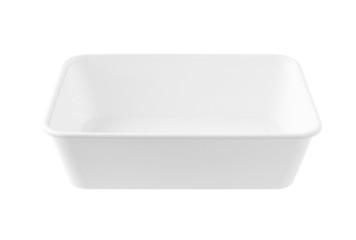 Rectangular White Plastic Tray no cover isolated on white backgr