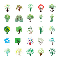 Tree Icon and logo Set