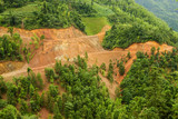 Aerial view of landslide in china