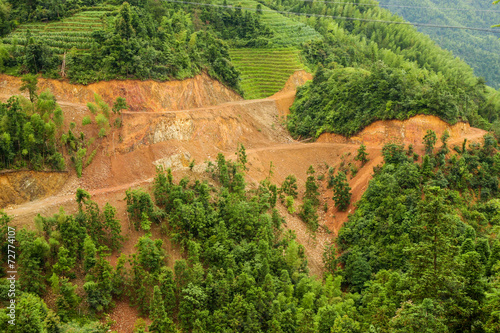 Aerial view of landslide in china - 72774107